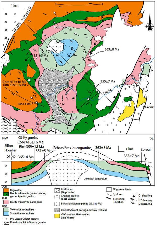 Schéma structural et coupe de la série de la Sioule montrant les déformations superposées résultant des événements D1, D2, D4, et les données géochronologiques