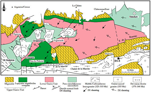 """Carte structurale du Plateau d'Aigurande montrant la superposition tectonique des unités métamorphiques de haut en bas: USG, UIG et UPA, donnant l'impression d'un """"métamorphisme inverse"""""""