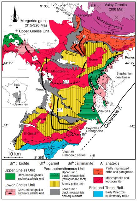 Carte des isogrades biotite, grenat et sillimanite dans l'Unité Para-Autochtone des Cévennes