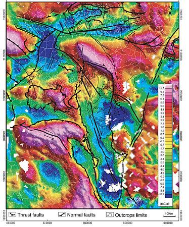 Carte de l'anomalie de Bouguer résiduelle de la partie Nord-Ouest du Massif Central