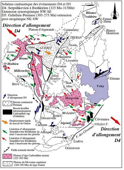 Carte des évènements extensifs D4 et D5 dans le Massif Central