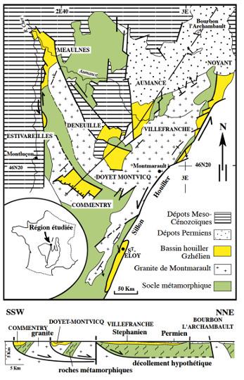 Exemple de la structure en demi-grabens des bassins houillers de Commentry, Doyet-Montvicq et Villefranche dans le Nord du Massif Central (vers Montluçon)