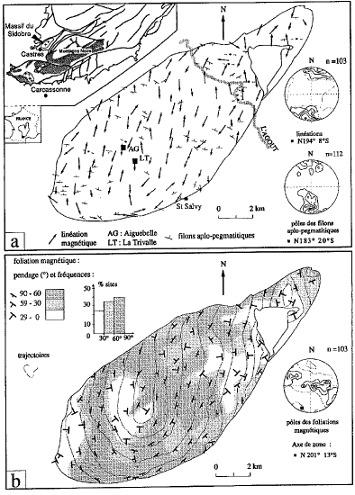 Carte structurale du pluton du Sidobre obtenue par la mesure de l'anisotropie de susceptibilité magnétique (ASM) du granite