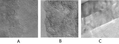 Images en microscopie électronique à transmission haute résolution de la MOI de Kainsaz (CO3)