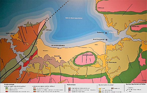 Carte géologique simplifiée de la baie du Mont-Saint-Michel