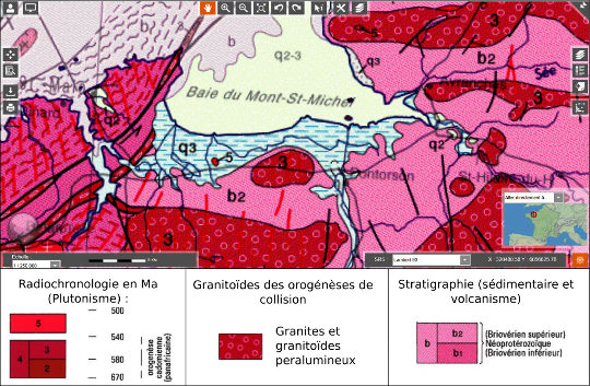 Extrait de la carte géologique de la France au 1/1000000