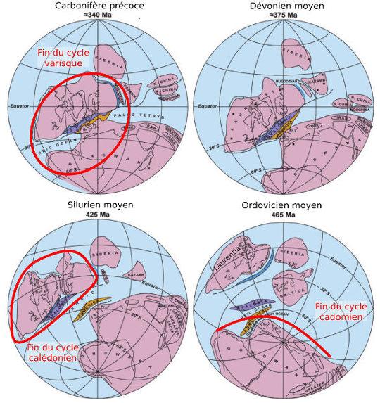Cartes paléogéographiques des trois grands cycles orogéniques du Protérozoïque et du Paléozoïque