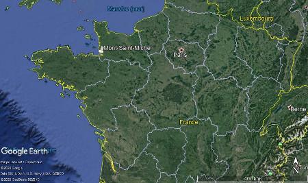 Localisation du Mont-Saint-Michel à l'échelle de la France