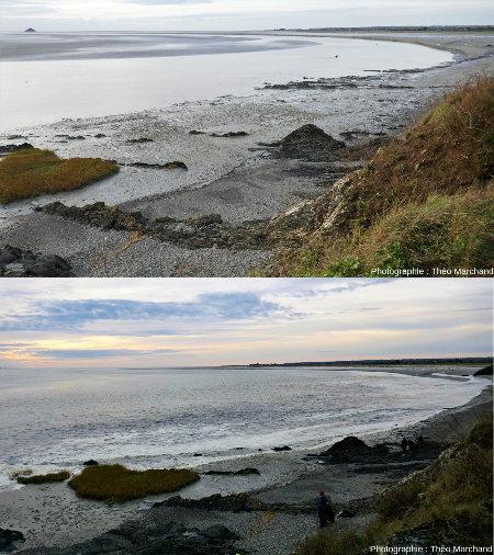 La baie du Mont-Saint-Michel, une heure avant, et au moment de la pleine mer
