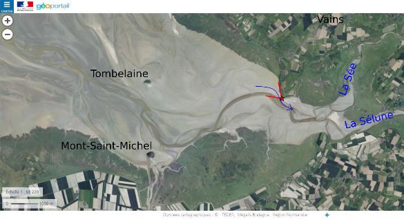 Trajet du mascaret observé, tracé sur une photographie aérienne de la baie
