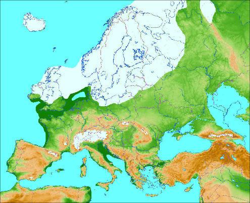 L'Europe lors de le dernière glaciation (il y a 20000 à 70000 ans)