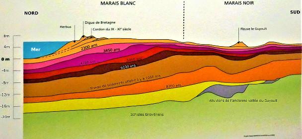 Dépôts de sédiments progrades depuis 9000 ans au Sud de la baie