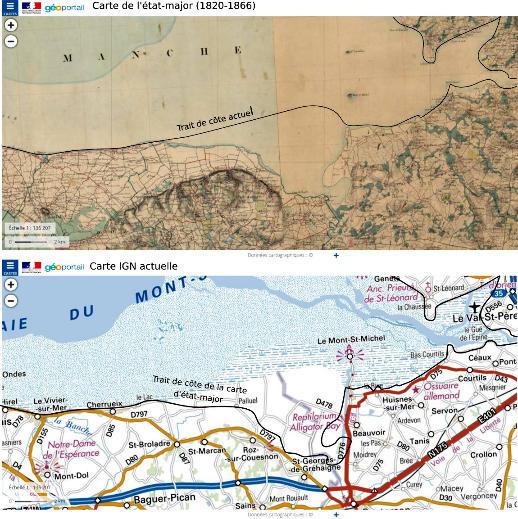 Comparaison des traits de côte Sud de la carte d'état-major, et de la carte IGN actuelle