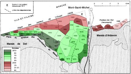 Carte des polders de l'estuaire de Couesnon et date de leur conquête