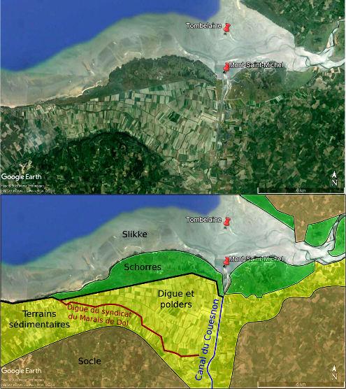 Traces de la conquête sur la mer dans le paysage actuel de la baie du Mont-Saint-Michel