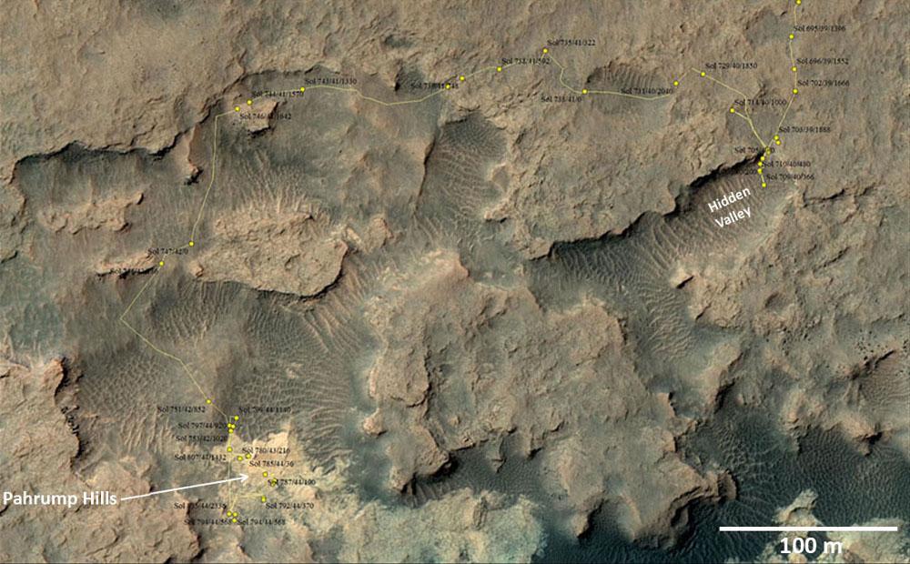 Carte détaillée du trajet effectué par Curiosity depuis le 20 juillet 2014 (sol 694)