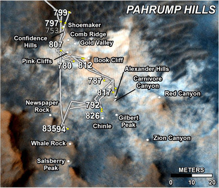 Carte du trajet de Curiosity entre les sols 753 et 835