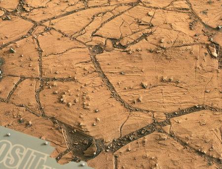 Vue de super détail des couches dans le secteur de Confidence Hills