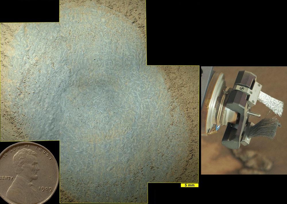 Vue globale sur une surface brossée (et sur la brosse) prise le sol 809 près de Pink Cliffs