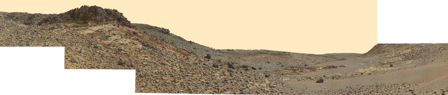 Mosaïque montrant le paysage au Sud et au Sud-Ouest de Whale Rock, sol 844 (21 décembre 2014)
