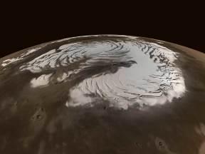 Vue oblique de la calotte polaire martienne résiduelle Nord
