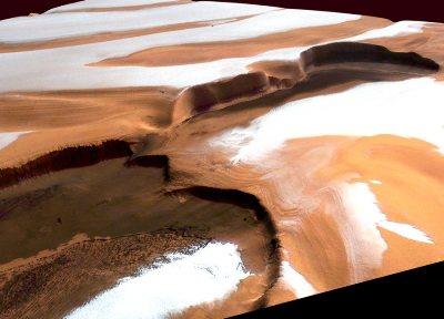 Vue générale oblique (relief exagéré) d'un de ces chasmas martiens