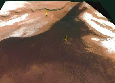 Vue détaillée du plancher d'un de ces chasmas martiens