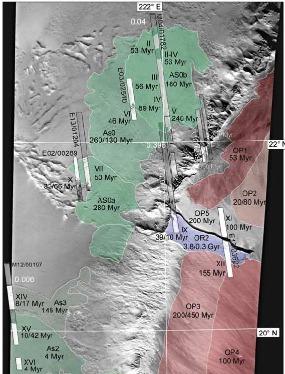 Carte des âges des écoulements glaciaires occidentaux (en vert) d'Olympus Mons
