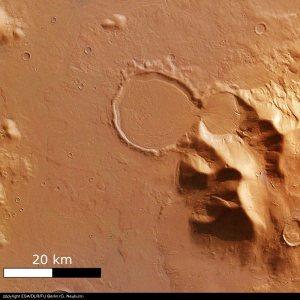 Vue verticale du système glaciaire martien de Promethei Terra