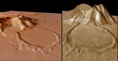 """Vues 3D du système glaciaire martien avec deux """"exagérations"""" différentes du relief"""