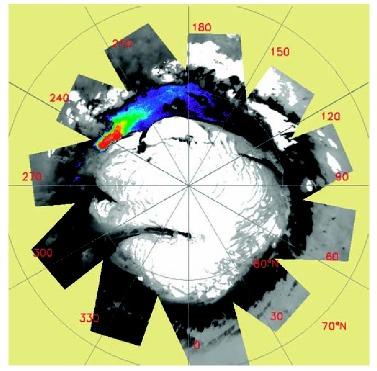 Carte de la répartition des sulfates, très vraisemblablement du gypse, en périphérie de la calotte polaire Nord de Mars