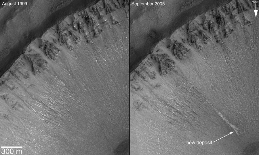 Nouveau gullie dans un cratère de la région des Centauri Montes