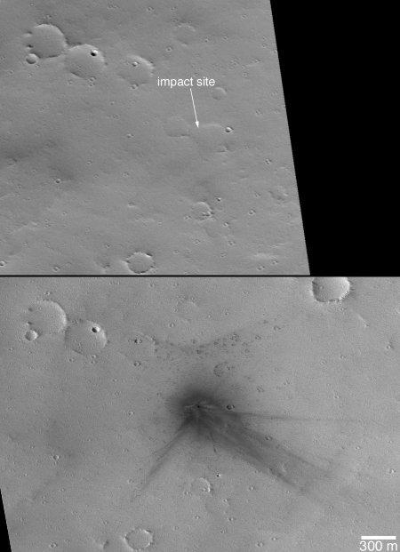 Nouveau cratère d'impact sur le flanc Nord du volcan Ulysses Patera