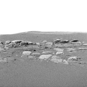Image haute résolution prise par la caméra panoramique d'Opportunity montrant le détail d'un affleurement