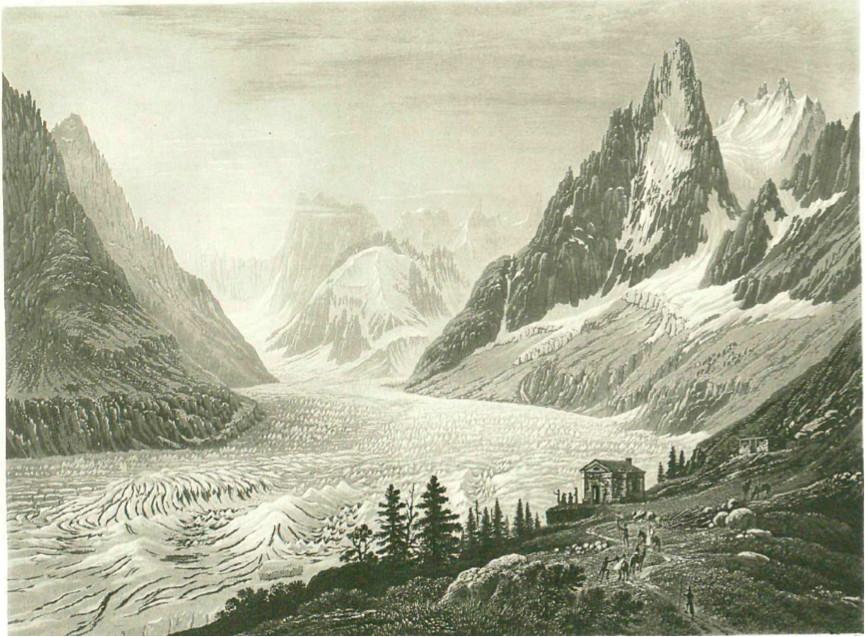 Représentation de la Mer de Glace dans la première moitié du XIXème siècle