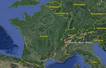 Localisation géographique de Chamonix Mont-Blanc (Haute-Savoie)