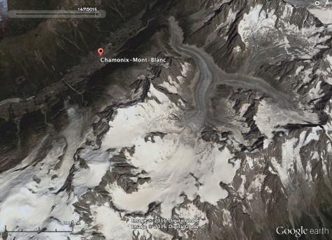 Vue satellite de la Mer de Glace et de la vallée de Chamonix-Mont-Blanc