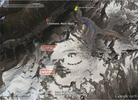Vue satellite annotée de la Mer de Glace et de la vallée de Chamonix-Mont-Blanc