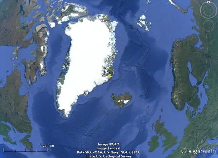 Localisation des glaciers côtiers groenlandais de la figure précédente