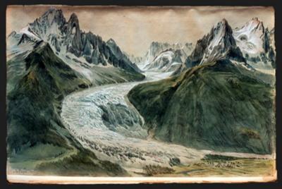 La Mer de Glace, représentée par Samuel Birmann en 1823 depuis La Flégère