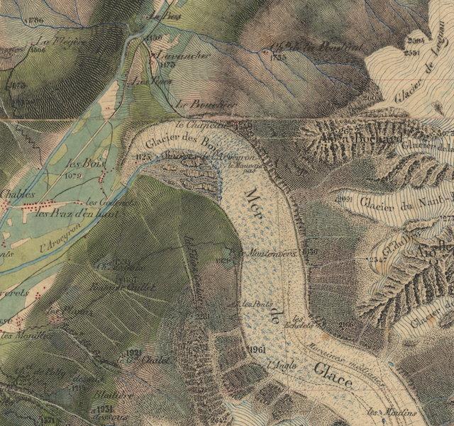 Carte d'état-major de 1863 (détail sur la partie terminale de la Mer de Glace)