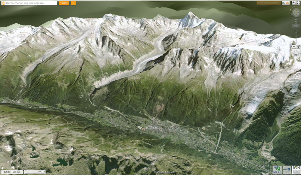 Vue actuelle de la vallée de Chamonix