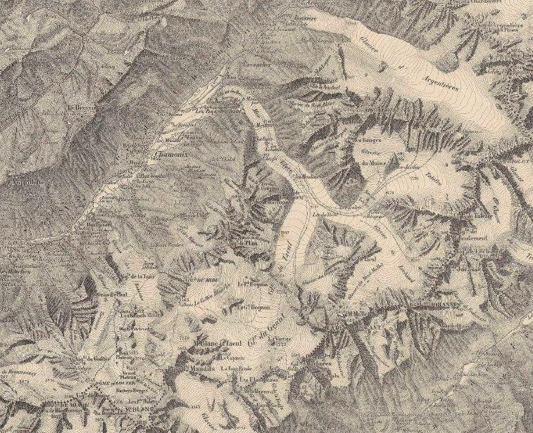 Carte de 1880 du Massif du Mont-Blanc
