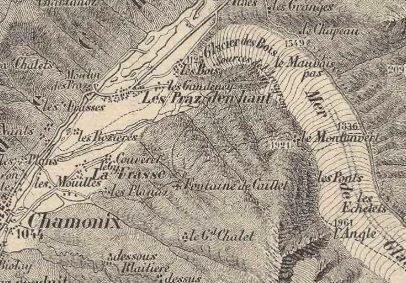 La Mer de Glace sur la carte de 1880 du Massif du Mont-Blanc