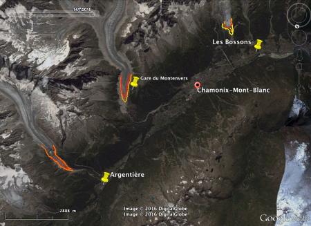 """Visualisation de la fonte """"actuelle"""" des glaciers de la vallée de Chamonix-Mont-Blanc"""