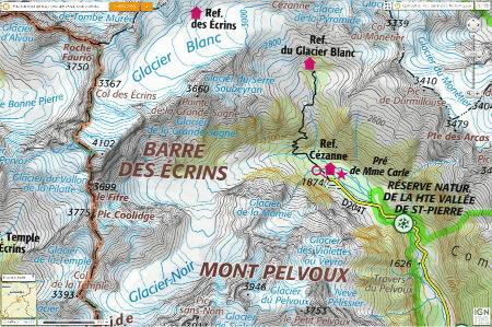 Massif des Écrins, Glacier Blanc et Glacier Noir, en carte
