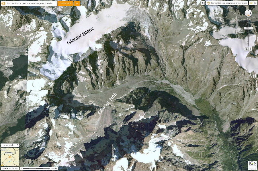 Massif des Écrins, Glacier Blanc et Glacier Noir, vue aérienne