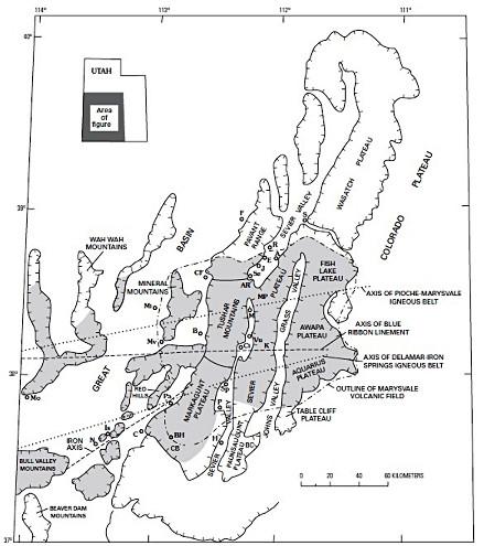Carte du Marysvale Volcanic Field dans le Sud-Ouest de l'Utah (États-Unis d'Amérique)