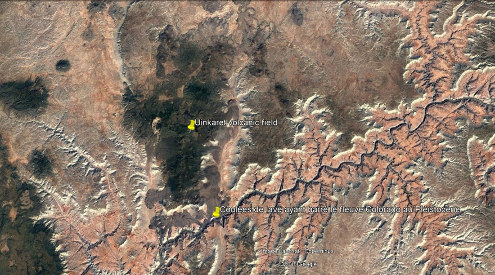 Vue satellite du Uinkaret Volcanic Field en rive Nord du Grand Canyon (Arizona, États-Unis d'Amérique)