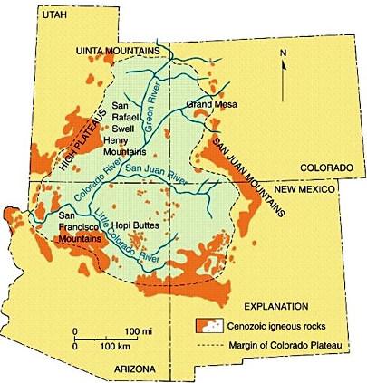Carte du plateau du Colorado (États-Unis d'Amérique) avec les principaux champs magmatiques d'âge cénozoïque en orange